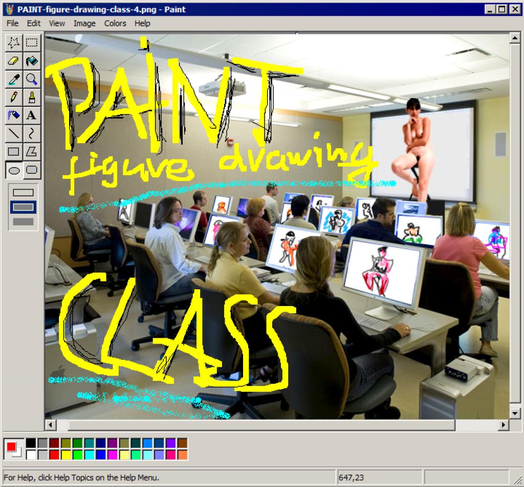 Aram Bartholl, PAINT figure drawing class!!